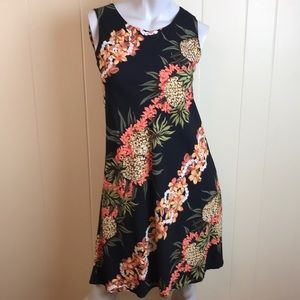 Hilo Hattie Black Sleeveless A Line Tropical Dress